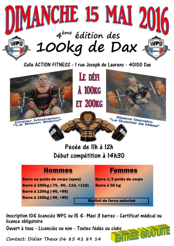affiche 100kg Dax 2016 wpc france